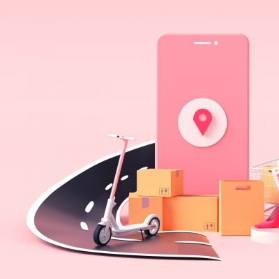 3D rendering of parcel delivery services. smartphone gps and cargo clothes for shipment illustration.